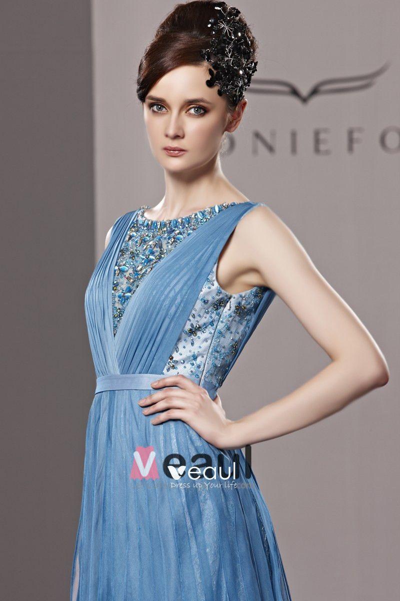 Bateau Beading Floor Length Tencel Woman Evening Dress