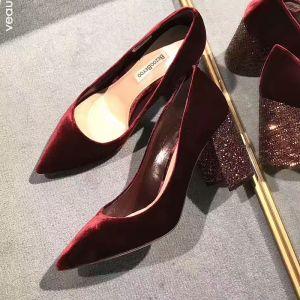 Schöne Burgunderrot Damenschuhe 2018 Abend Leder Wildleder Glanz 8 cm Stilettos Spitzschuh Pumps