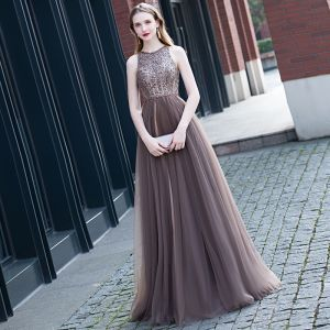 Best Brown Evening Dresses  2020 A-Line / Princess Scoop Neck Sleeveless Beading Sash Floor-Length / Long Ruffle Backless Formal Dresses