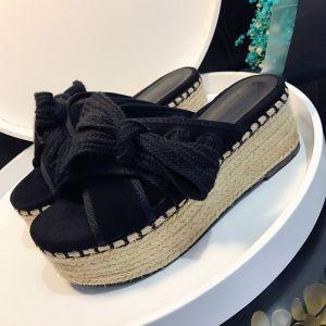 Eleganckie 2017 Ogród / Outdoor Czarne Szary Lato Mid Obcas Grubym Obcasie Pantofle 8 cm / 3 inch Peep Toe Sandały Damskie