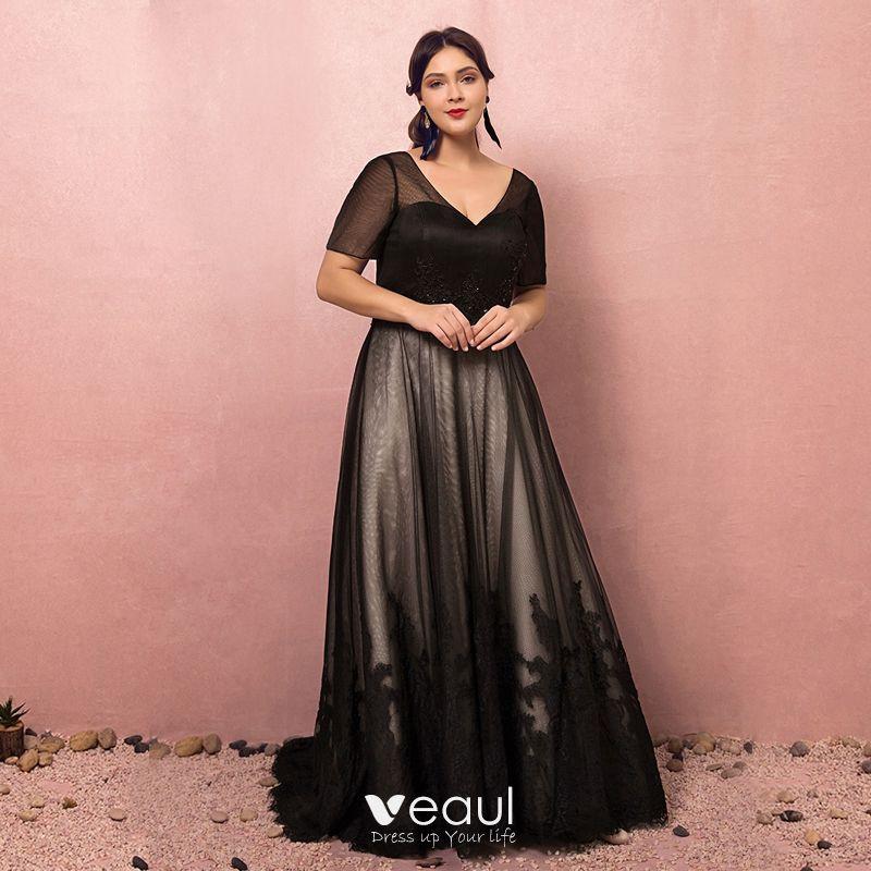 Magnífico Negro Talla Extra Vestidos De Noche 2018 A Line Princess Con Cordones Tul V Cuello Apliques Sin Espalda Rebordear Lentejuelas Noche