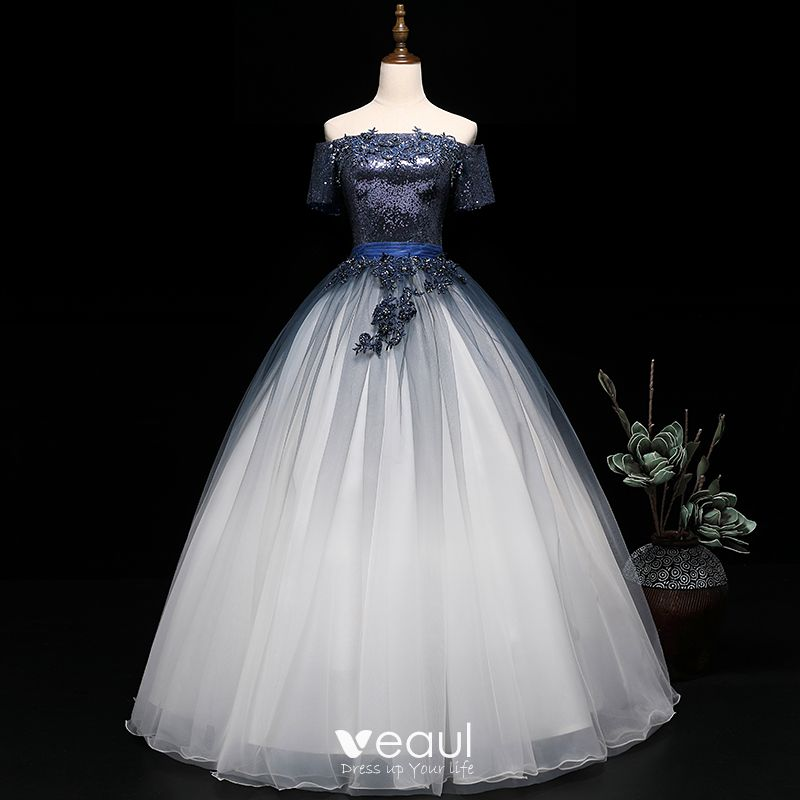 Modern Fashion Navy Blue Gradient Color White Prom Dresses 2019 Ball Gown Off The Shoulder Short