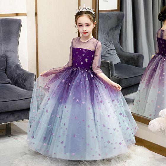 Fairytale Grape Gradient-Color See-through Birthday Flower Girl Dresses 2020 Ball Gown Scoop Neck 3/4 Sleeve Glitter Star Floor-Length / Long Ruffle