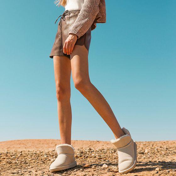 Schlicht Ivory / Creme Schneestiefel 2020 Leder Ankle Boots Winter Flache Freizeit Runde Zeh Stiefel Damen