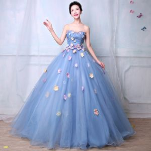 Flower Fairy Pool Blue Prom Dresses 2019 A-Line / Princess Sweetheart Sleeveless Appliques Flower Rhinestone Beading Pearl Floor-Length / Long Ruffle Backless Formal Dresses