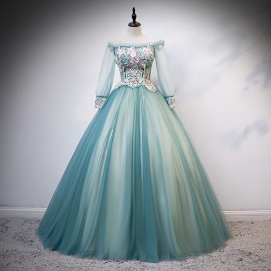 Flower Fairy Jade Green Fairytale Prom Dresses 2020 Ball Gown Off-The-Shoulder Pearl Rhinestone Lace Flower Appliques 3/4 Sleeve Backless Floor-Length / Long Formal Dresses