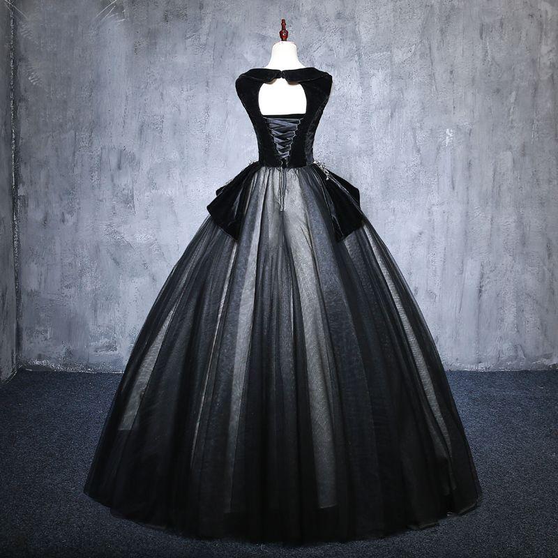 Elegant Black Prom Dresses 2019 Ball Gown V-Neck Suede Appliques Lace Crystal Sleeveless Backless Floor-Length / Long Formal Dresses