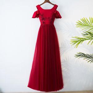 Chic / Belle Rouge Style Chinois Robe De Soirée 2017 Princesse Encolure Dégagée Manches Courtes Bretelles croisées Appliques Fleur Perle Thé Longueur Soirée