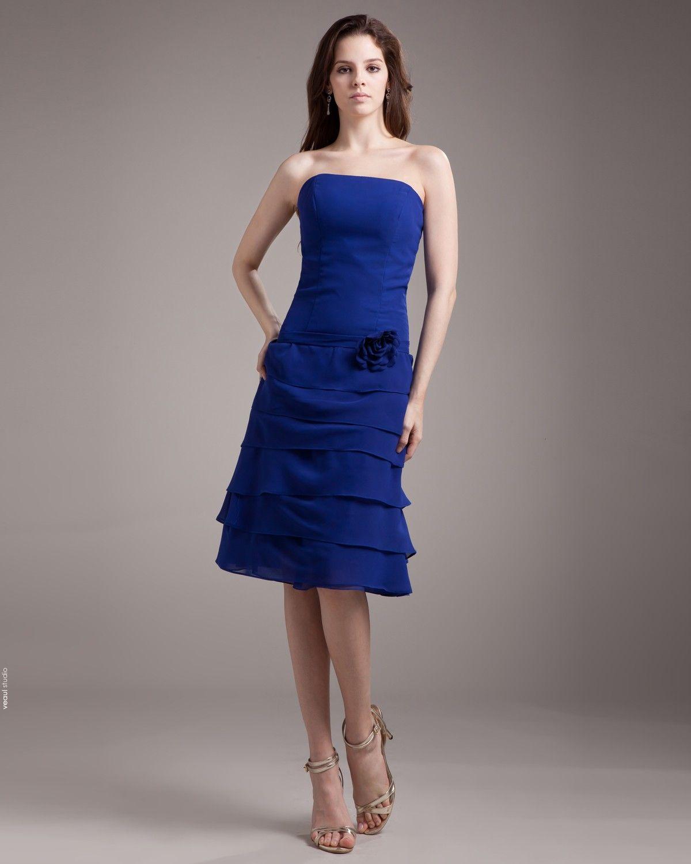 Strapless Pleated Applique Knee Length Chiffon Woman Bridesmaid Dress