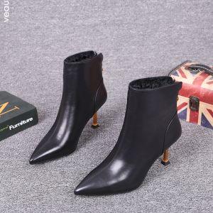Mote Svart Gateklær Lær Ankel Kvinners støvler 2021 7 cm Stiletthæler Spisse Boots