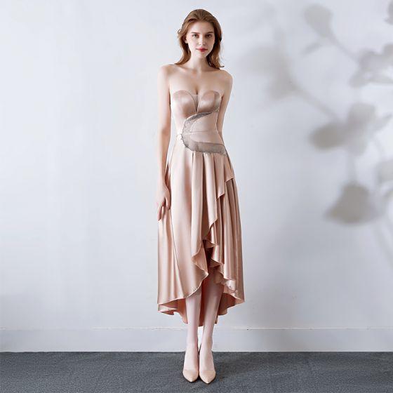 Sexy Nude Satin Evening Dresses  2019 A-Line / Princess Sweetheart Sleeveless See-through Rhinestone Asymmetrical Ruffle Backless Formal Dresses