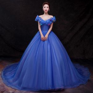 Cinderella Royal Blue Prom Dresses 2018 Ball Gown Appliques Off-The-Shoulder Backless Sleeveless Cathedral Train Formal Dresses