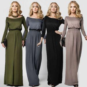 06e83d169 Sencillos Casual Vestidos largos 2019 Plisado Escote Cuadrado Manga Larga  Largos Ropa de mujer