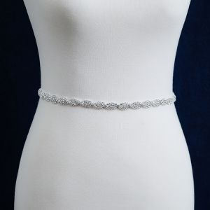 Classic Elegant White Wedding Sash 2020 Metal Satin Handmade  Beading Rhinestone Evening Party Prom Accessories