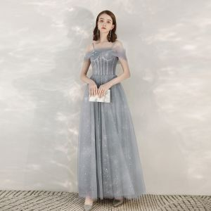Elegant Grey Evening Dresses  2020 A-Line / Princess Spaghetti Straps Short Sleeve Star Sequins Floor-Length / Long Ruffle Backless Formal Dresses