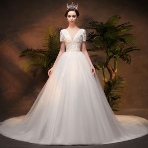 Elegant Ivory Wedding Dresses 2019 A-Line / Princess Appliques Deep V-Neck Short Sleeve Backless Lace Beading Pearl Sequins Chapel Train Ruffle