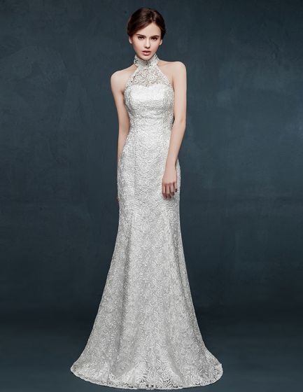 2015 White Halter Mermaid Wedding Dress