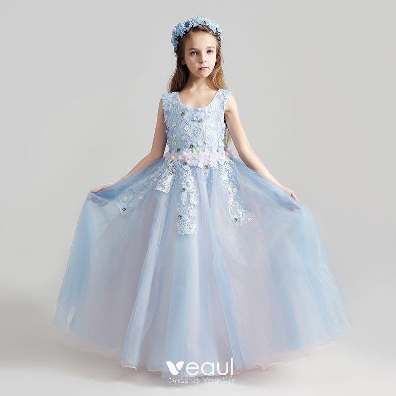 Piękne Błękitne Sukienki Dla Dziewczynek 2017 Suknia Balowa Wycięciem Bez Rękawów Aplikacje Z Koronki Kwiat Długie Wzburzyć Sukienki Na Wesele