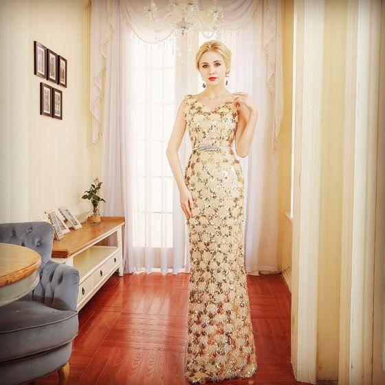 Sparkly Champagne Evening Dresses  2018 Trumpet / Mermaid Sequins Metal Sash V-Neck Backless Sleeveless Floor-Length / Long Formal Dresses