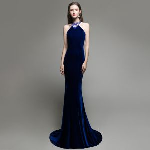 Sexy Solid Color Royal Blue Suede Evening Dresses  2020 Trumpet / Mermaid Halter Beading Rhinestone Sleeveless Backless Sweep Train Formal Dresses