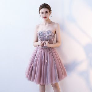 Sexy Blushing Pink Cocktail Dresses 2019 A-Line / Princess Strapless Appliques Pearl Crystal Lace Flower Sleeveless Backless Short Formal Dresses