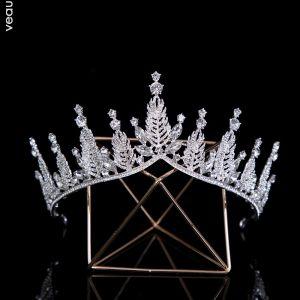 Mooie / Prachtige Zilveren Bruids Haaraccessoires 2020 Legering Rhinestone Tiara Bruids Accessoires