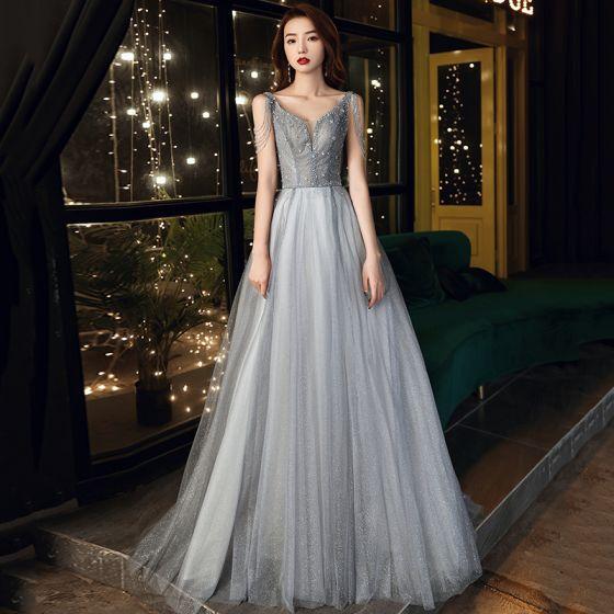 Uroczy Szary Sukienki Na Bal 2021 Princessa V-Szyja Frezowanie Cekiny Kutas Bez Rękawów Bez Pleców Trenem Sweep Sukienki Wizytowe