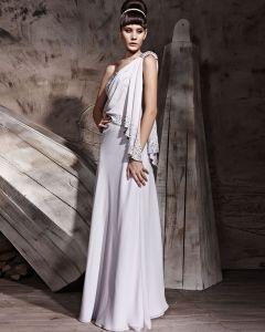 Single Shoulder Floor Length Chiffon Evening Dresses