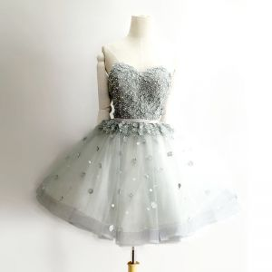 Sexy Grey Cocktail Dresses 2018 Ball Gown Lace Appliques Pearl Sash Sweetheart Backless Short Sleeveless Formal Dresses