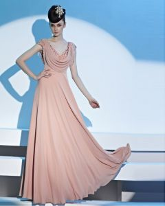 Capped Sleeve V Neckline Floor Length Beading Tassels Chiffon Women Evening Dress