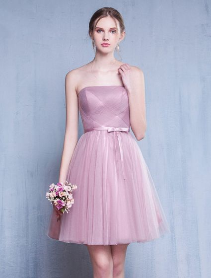 Bridesmaid Dresses 2016 Strapless Ruffle Pink Tulle Short Dress