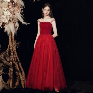 Hermoso Rojo Vestidos de gala 2020 A-Line / Princess Hombros Sin Mangas Rebordear Glitter Tul Largos Ruffle Sin Espalda Vestidos Formales