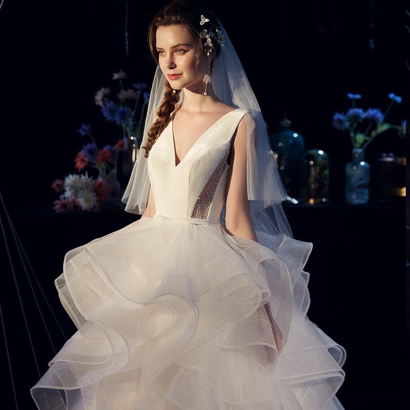 Elegant Ivory Satin Wedding Dresses 2019 Ball Gown Deep V-Neck Sleeveless Backless Sash Court Train Cascading Ruffles