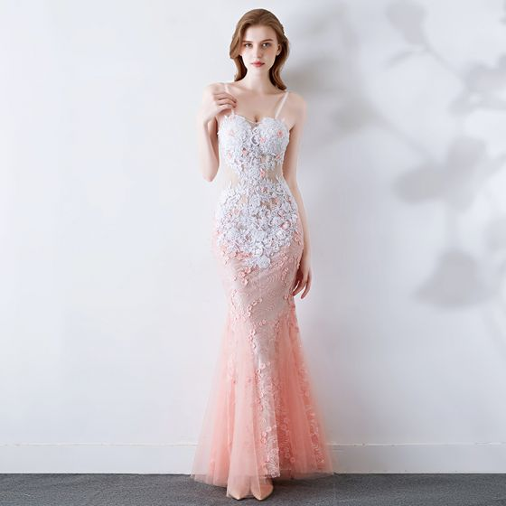 Sexy White Gradient-Color Pearl Pink Evening Dresses  2019 Trumpet / Mermaid Spaghetti Straps Sleeveless Pierced Appliques Lace Beading Pearl Floor-Length / Long Ruffle Backless Formal Dresses