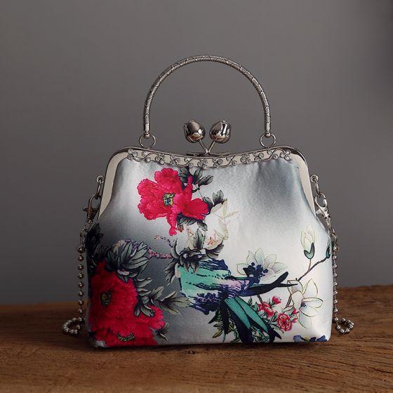 Chinese Stijl Vintage Grijs Vierkante Handtassen 2020 Metaal Rhinestone Het Drukken Bloem Polyester
