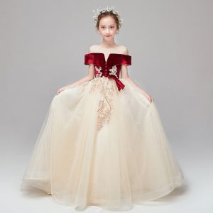 Chic / Beautiful Champagne See-through Suede Flower Girl Dresses 2020 A-Line / Princess Scoop Neck Short Sleeve Appliques Lace Beading Sequins Ruffle Sweep Train