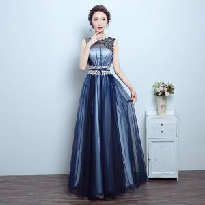 Chic / Beautiful Navy Blue Prom Dresses 2017 A-Line / Princess Lace U-Neck Crossed Straps Backless Beading Pierced Prom Formal Dresses