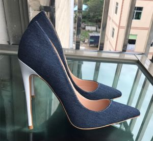 Fine Mørk Marineblå Casual Pumps 2019 Lær 12 cm Stiletthæler Spisse Pumps
