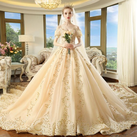 Luxury Gorgeous Champagne Wedding Dresses 2018 Ball Gown Spaghetti Straps Puffy Short Sleeve Backless Appliques Lace Beading Pearl Cathedral Train