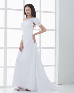 En Mousseline A Volants Perles Une Epaule-parole Longueur Des Robes De Mariée De La Gaine