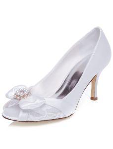 Belle Chaussures De Mariage De 2016 Escarpins Talon Aiguille Dentelle Chaussures De Mariée Peep Toe Avec Perle Bowknot