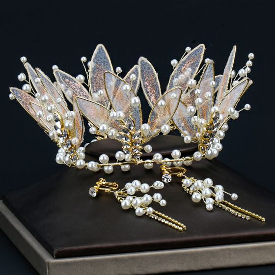 Charming Gold Tiara Earrings Bridal Jewelry 2020 Alloy Pearl Rhinestone Wedding Accessories