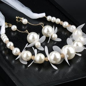 Elegant Ivory Pearl Headpieces Earrings Bridal Jewelry 2020 Alloy Silk Flower Lace-up Headbands Bridal Hair Accessories