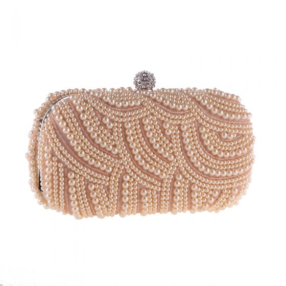 Luxury / Gorgeous Champagne Beading Pearl Metal Clutch Bags 2018