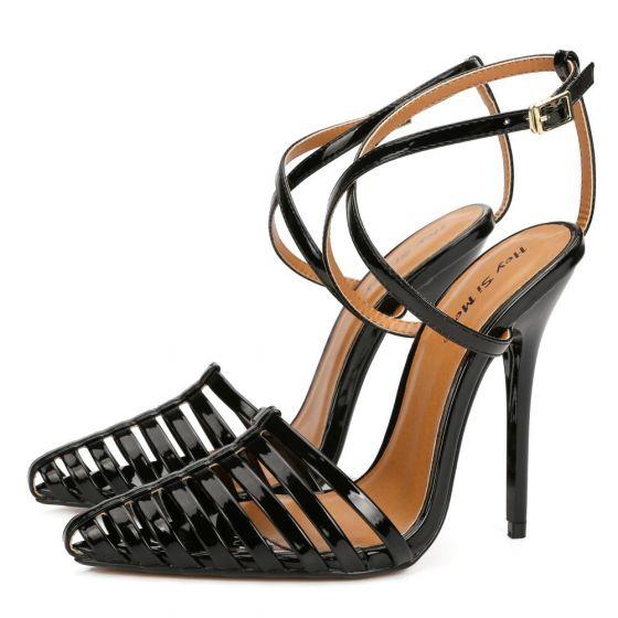 Sexy Svart Karnevals klubb Patent Lær Sandaler Dame 2021 X-Stropp 12 cm Stiletthæler Spisse Sandaler