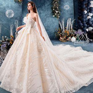 Bling Bling Champagner Brautkleider / Hochzeitskleider 2019 Ballkleid Unique Herz-Ausschnitt Ärmellos Rückenfreies Glanz Pailletten Königliche Schleppe Rüschen