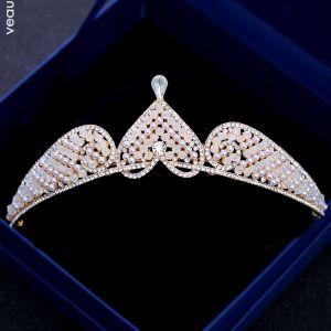 Schöne Champagner Gold Diadem 2018 Metall Kristall Strass Perle Herzförmig Brautaccessoires