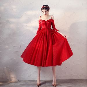 Chic / Beautiful Red Satin Prom Dresses 2020 A-Line / Princess Spaghetti Straps Off-The-Shoulder 3/4 Sleeve Beading Sash Glitter Tulle Short Ruffle Backless Formal Dresses
