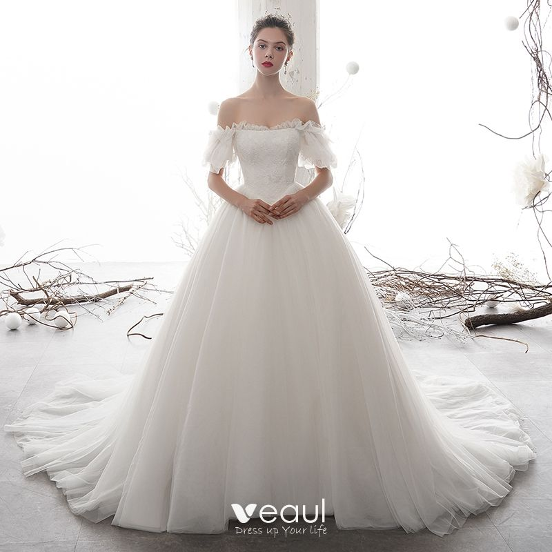 Modest Simple Ivory Wedding Dresses 2020 A Line Princess Off The Shoulder Puffy Short Sleeve Backless Appliques Lace Chapel Train Ruffle,Wedding Dress Beetlejuice Winona Ryder