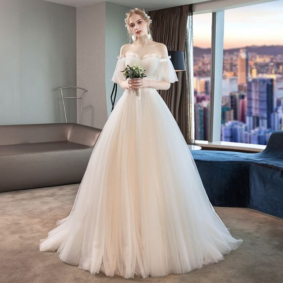 Elegant Ivory Wedding Dresses 2019 A-Line / Princess Pleated Lace Beading Crystal Off-The-Shoulder Short Sleeve Backless Court Train